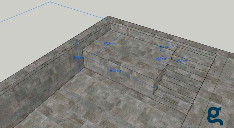cotas de escalera y plataforma de la piscina