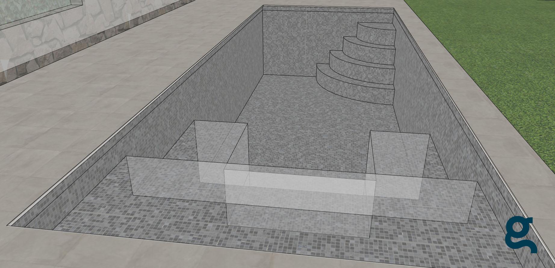 vista frontal piscina