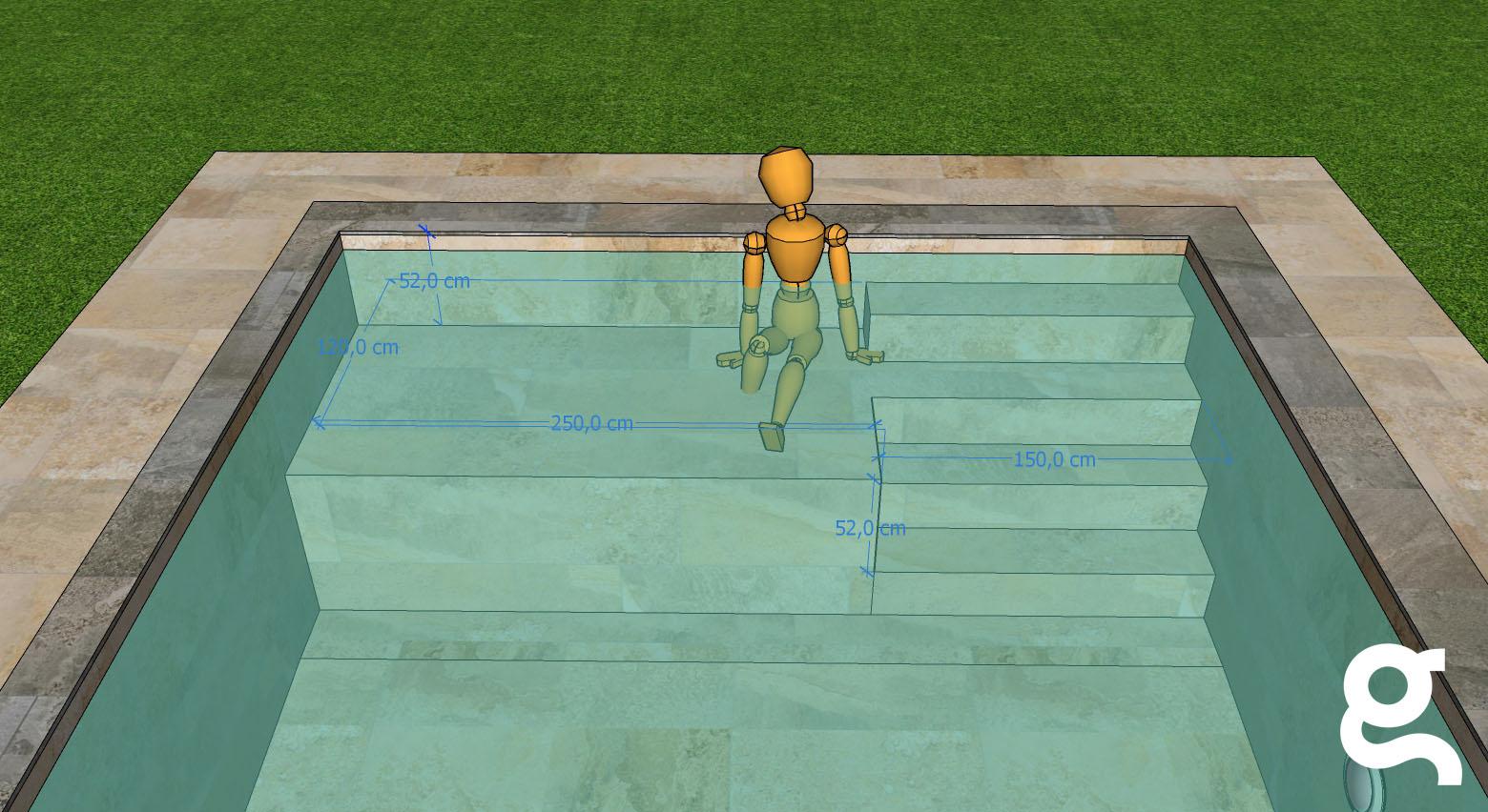 Infografía piscina con Mosaico Zen Tigrato