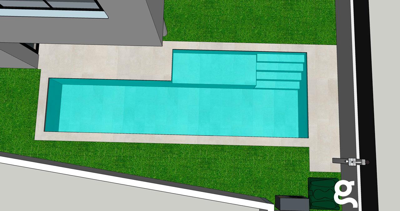 Infografía piscina vista aérea