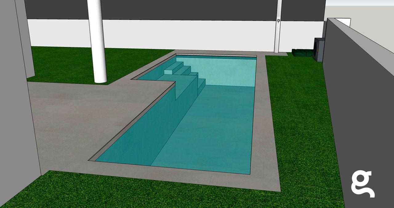 Infografía piscina vista fondo