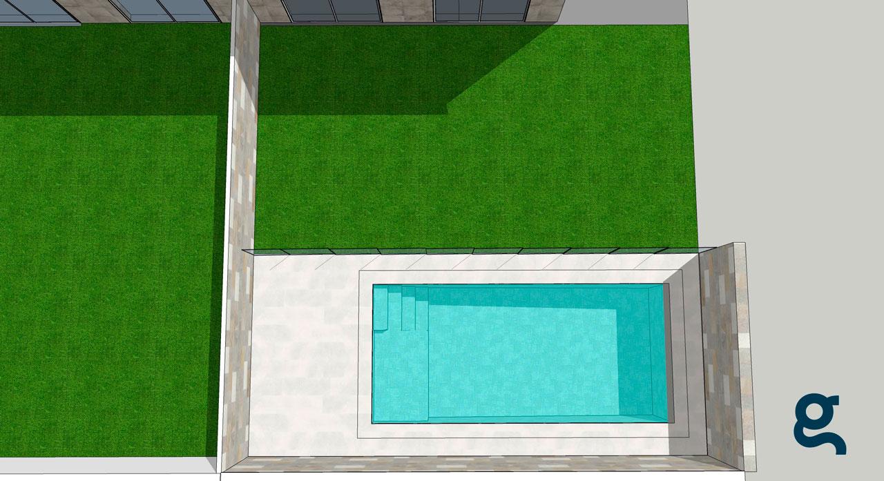 Infografía de la piscina realizada con Sketchup