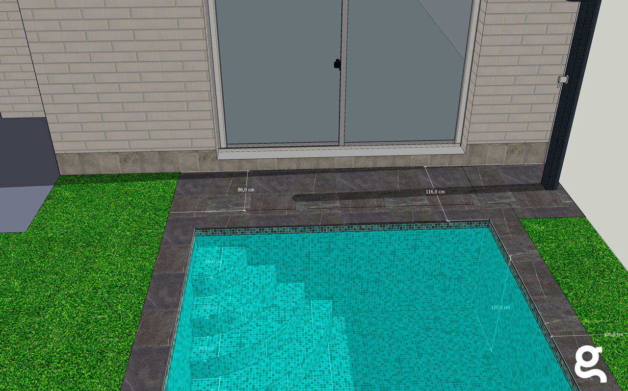 Dimensiones piscina desde alzado