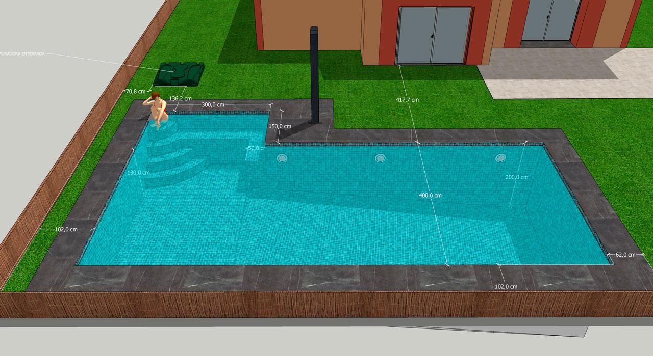 Infografía de la piscina con agua.